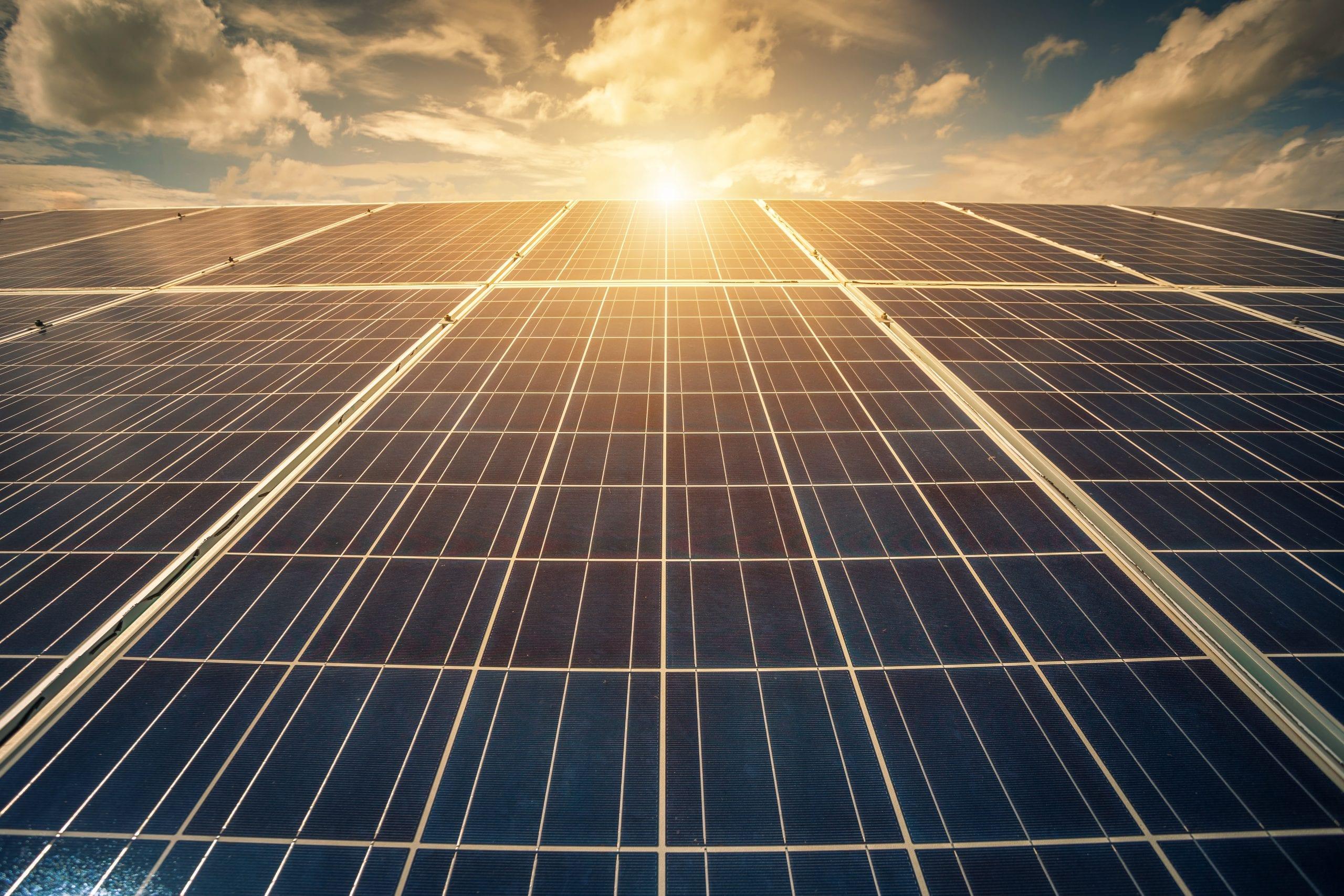 Solar panel on blue sky background, Alternative energy concept,Clean energy,Green energy.